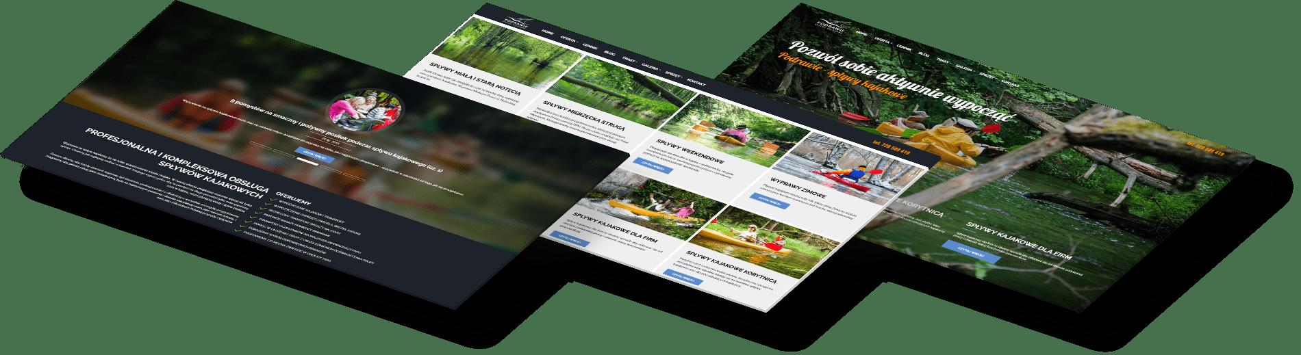 strona www dla branży turystycznej ciekawy projekt spływy kajakowe