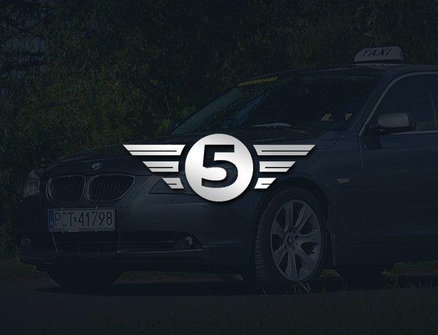srebrne logo taxi na stronie internetowej taxi 5 przewozy osobowe